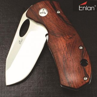 Enlan EL-05 Big Folding Knife 8Cr13Mov Blade Wood Handle Liner Lock