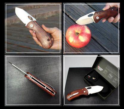 Enlan EL-05 Big Folding Knife 8Cr13Mov Blade Wood Handle Liner Lock