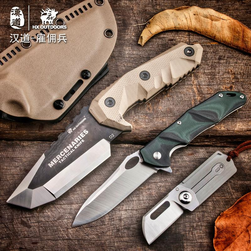HX OUTDOORS D-165 D2 Blade Tactical Fixed Knife Camping Hunting Multi-function Survival Gear Mercenaries knifves