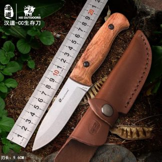 HX OUTDOORS TD-08 Camping Survival Fixed Knife AUS-8 Blade Wood Handle bushcraft knife with K Sheath