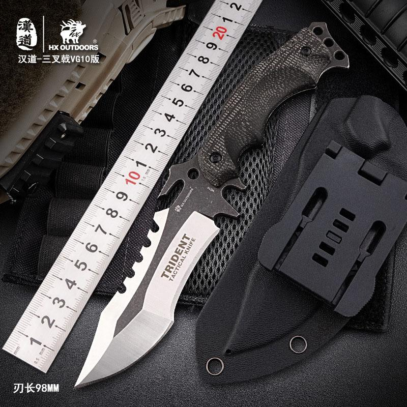 HX OUTDOORS D-123 VG10 Blade Tactical Fixed Knife Multi Functional Outdoor Camping Survival Hunting Bushcraft Military Knife