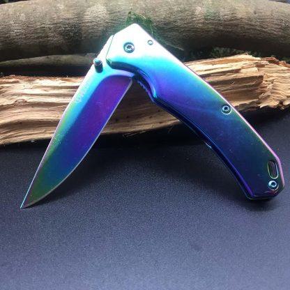 Harnds CK6014A CK6014B Pandora Folding Knife 8Cr14MoV Color Titanium Blade Steel Handle Collection DIY Cutting Tool