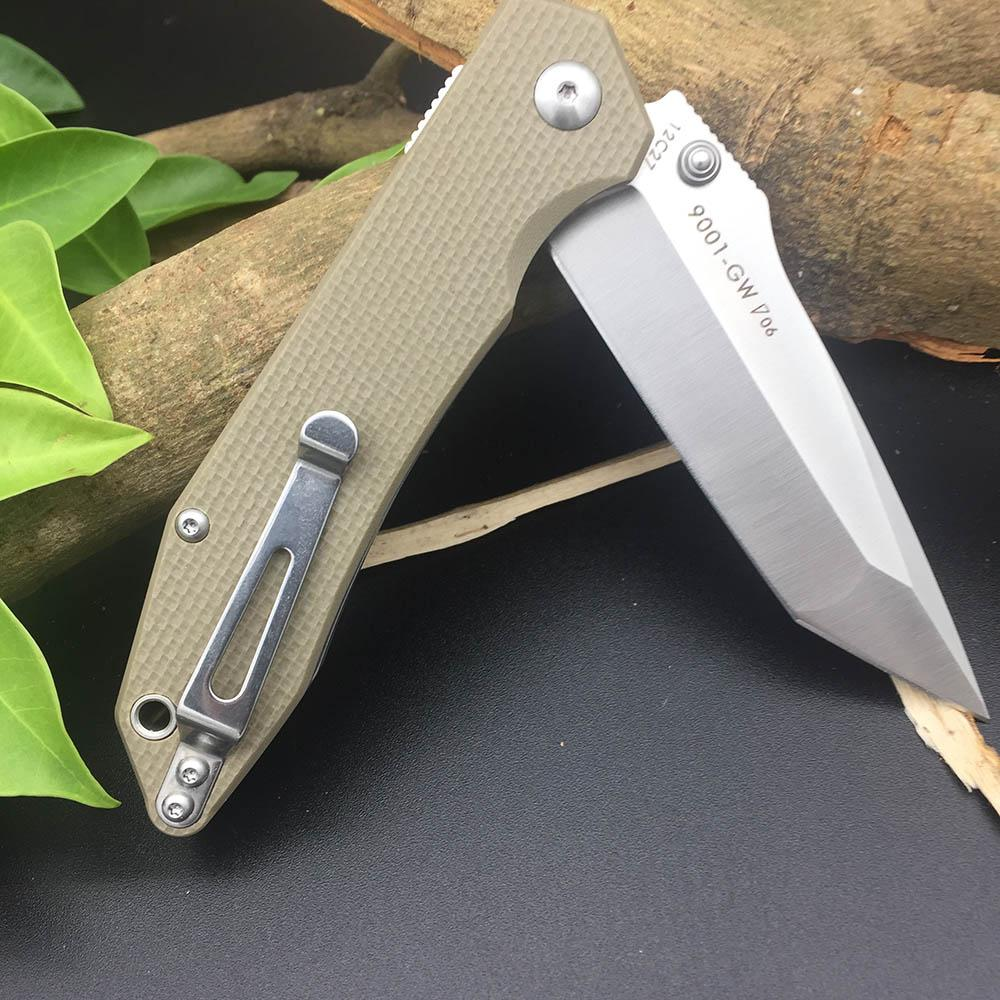 Sanrenmu 9001 12C27 Blade G10 Handle Folding Knife Outdoor multi tools Pocket EDC Knives Gift Brand Design Utility Survival Knifes