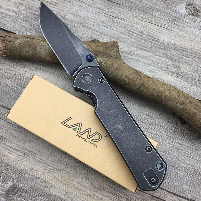 Land 9104  Frame Lock Folding Knife 12C27 Blade Outdoor Camping survival Pocket Knife Super Military Kitchen Tools Top Qaulity EDC Knives